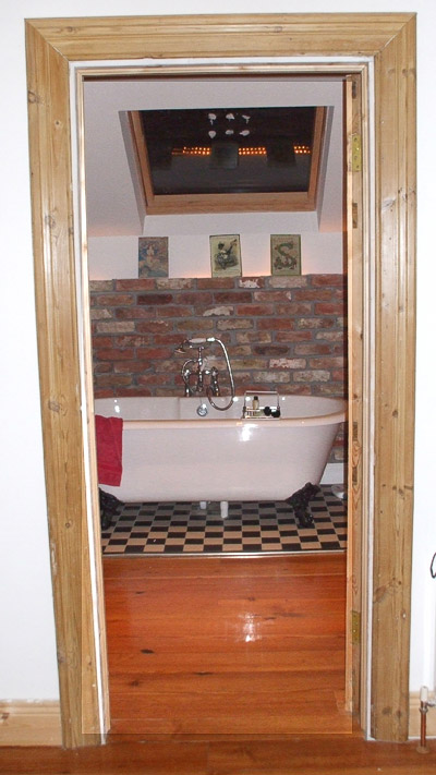 Brickwork used as a feature in bathroom