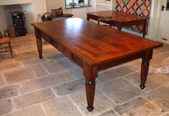 Bespoke pitch pine table 8ft long with turned legs